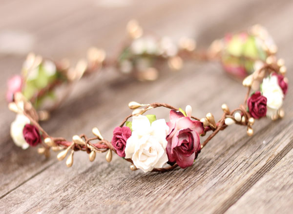 Floral Headpiece Burgundy Ivory Wedding Flower Crown marsala and gold berry hair wreath